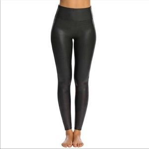 SPANX Womens Faux Leather Leggings Small